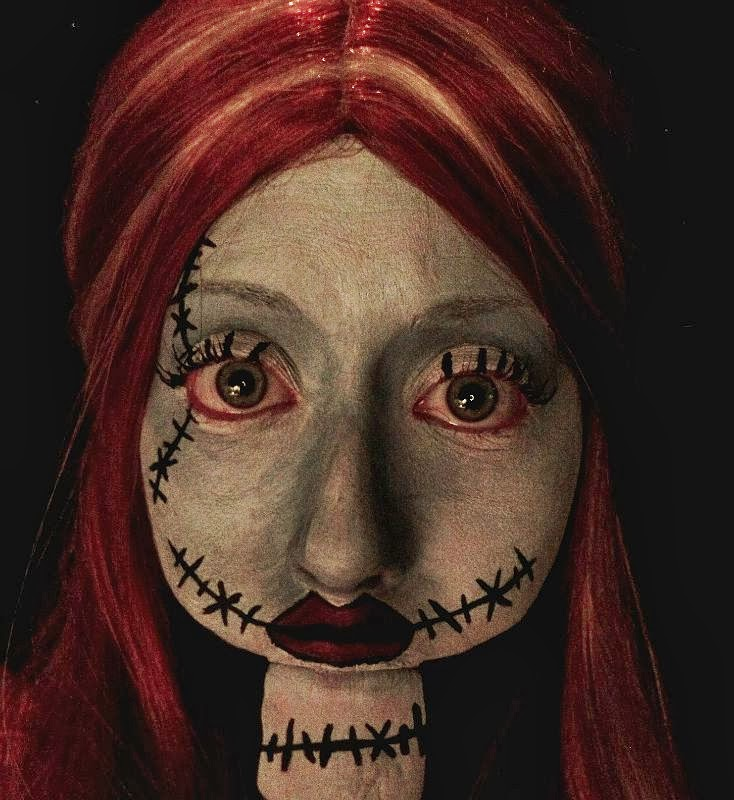 nightmare before christmas sally makeup tutorial photo step by step tutorial