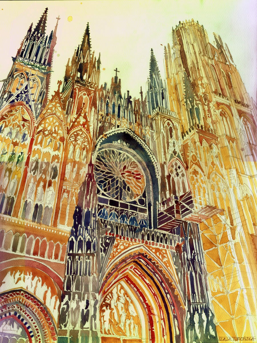 20-Rouen-Maja-Wronska-Travels-Architecture-Paintings-www-designstack-co