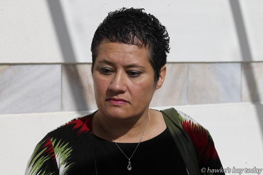 Julia McIntosh speaks to media after the sentencing of Annie Rangi for the manslaughter of Aileen Macdonald, Napier, in December last year. photograph