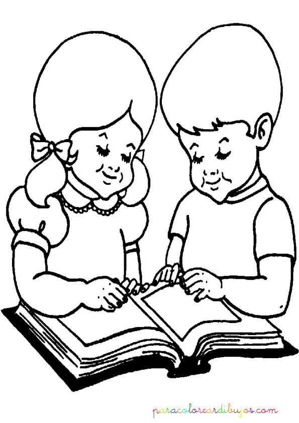 Niños leyendo para colorear | Colorear dibujos
