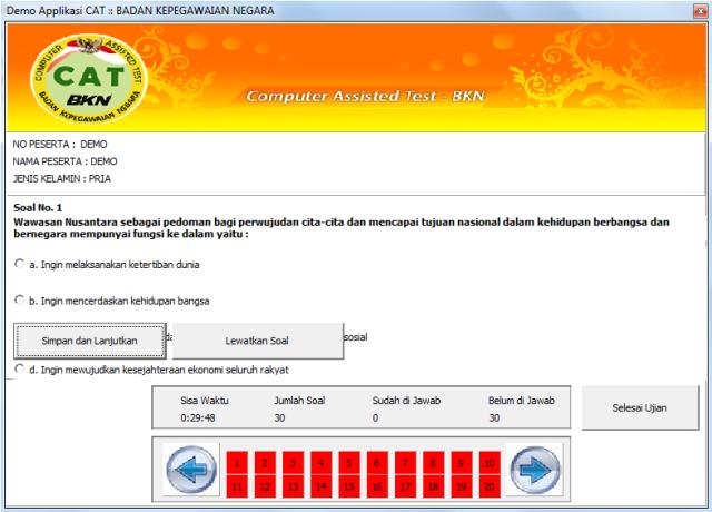 Download Contoh Soal Tes Cpns 2014 Simulasi Cat Computer Assisted Test Bkn 20 Simulasi Dg
