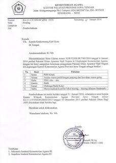 Surat Edaran Penggunaan Seragam ASN Kemenag Provinsi Jawa Tengah