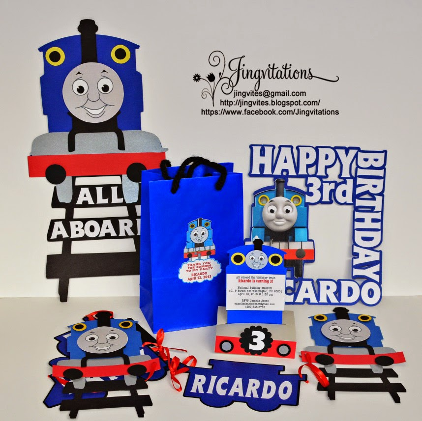 Thomas the Train Invitations Banner Goody bags Door Sign Cake Topper  sc 1 st  Jingvitations & Jingvitations: thomas the train