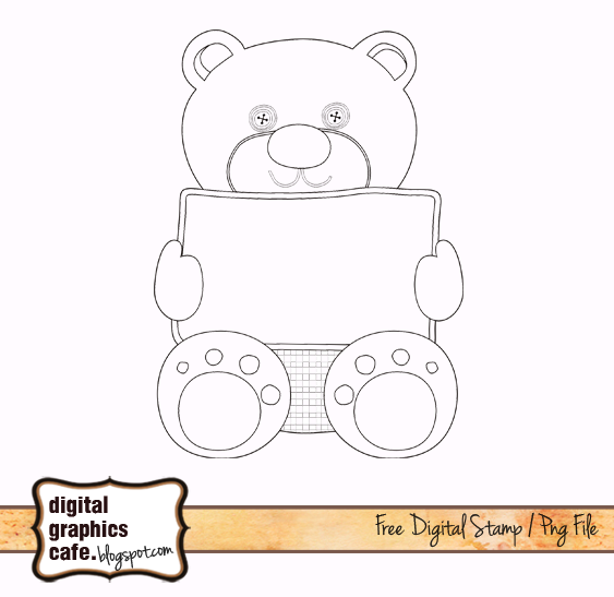 teddy bear digital stamp