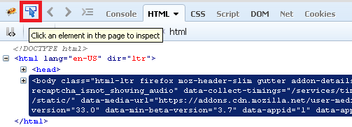 Inspecting element in Firebug