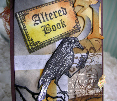 Halloween crow card with Lost Coast Designs stamps detail