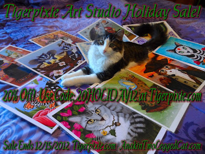 Tigerpixie.com Fantasy Cat Art Holiday Sale, Anaki The Two Legged Cat