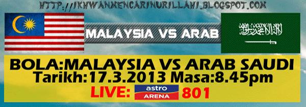 Keputusan Malaysia vs Arab Saudi 17 Mac 2013 - Perlawanan Persahabatan