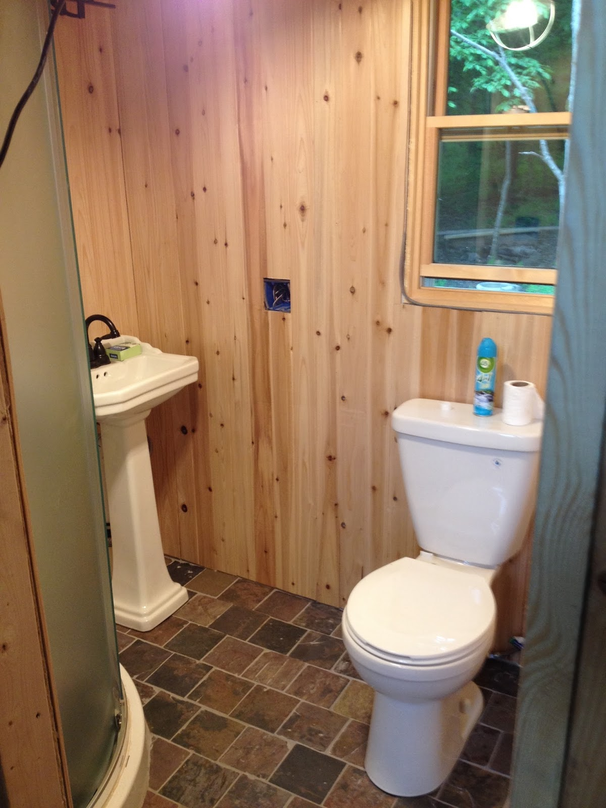 Tongue and groove for bathrooms - Bathroom Plumbing And Cedar Tongue And Groove Is In Just Some Wood Trim Towel Racks And Cosmetic Stuff To Finish In Here