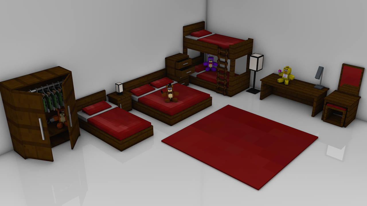 Minecraft bedroom pack rig cinema 4d anz creations for Minecraft bedroom set