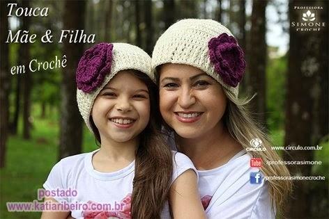 Touca Mãe e Filha em crochê com vídeo prof. Simone - Katia Ribeiro Crochê  Moda e Decoração 8076da1691d