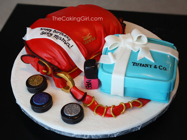 prada purse mac make up tiffany cake