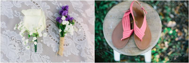 white rose boutineer purple boutineer coral sandals