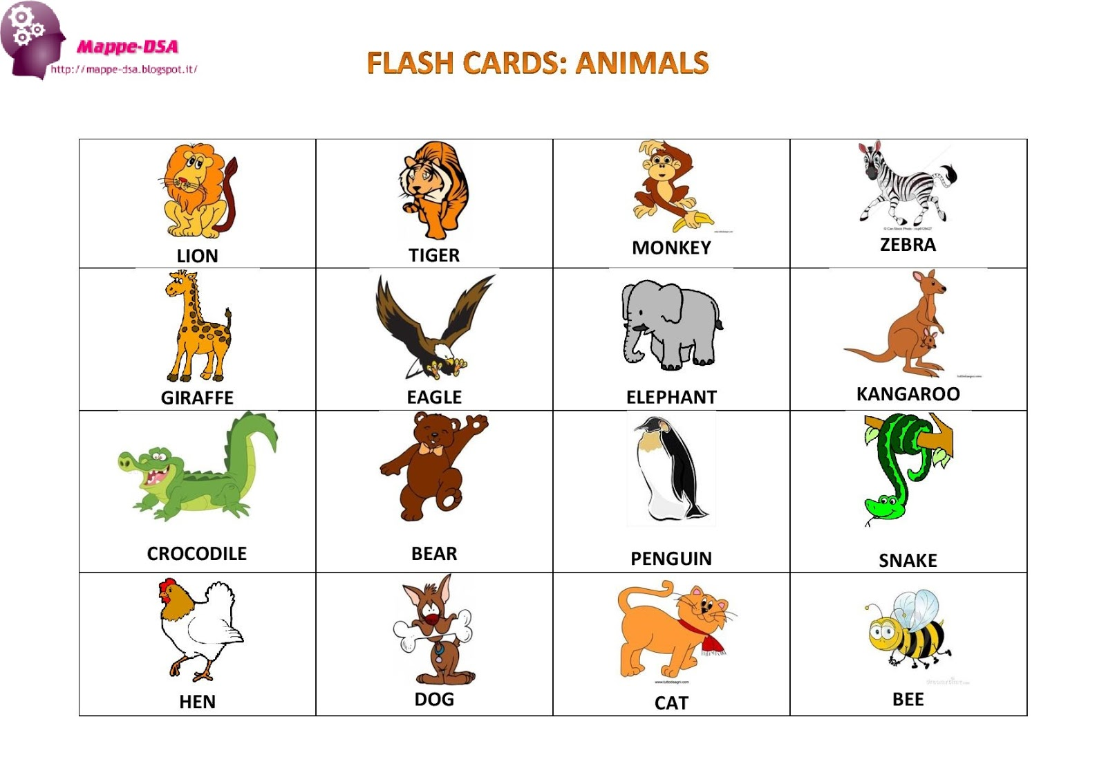 abbastanza FLASH CARDS: ANIMALS WR28