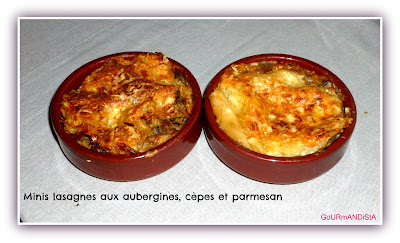 Photo Minis lasagnes aux aubergines, cèpes et parmesan