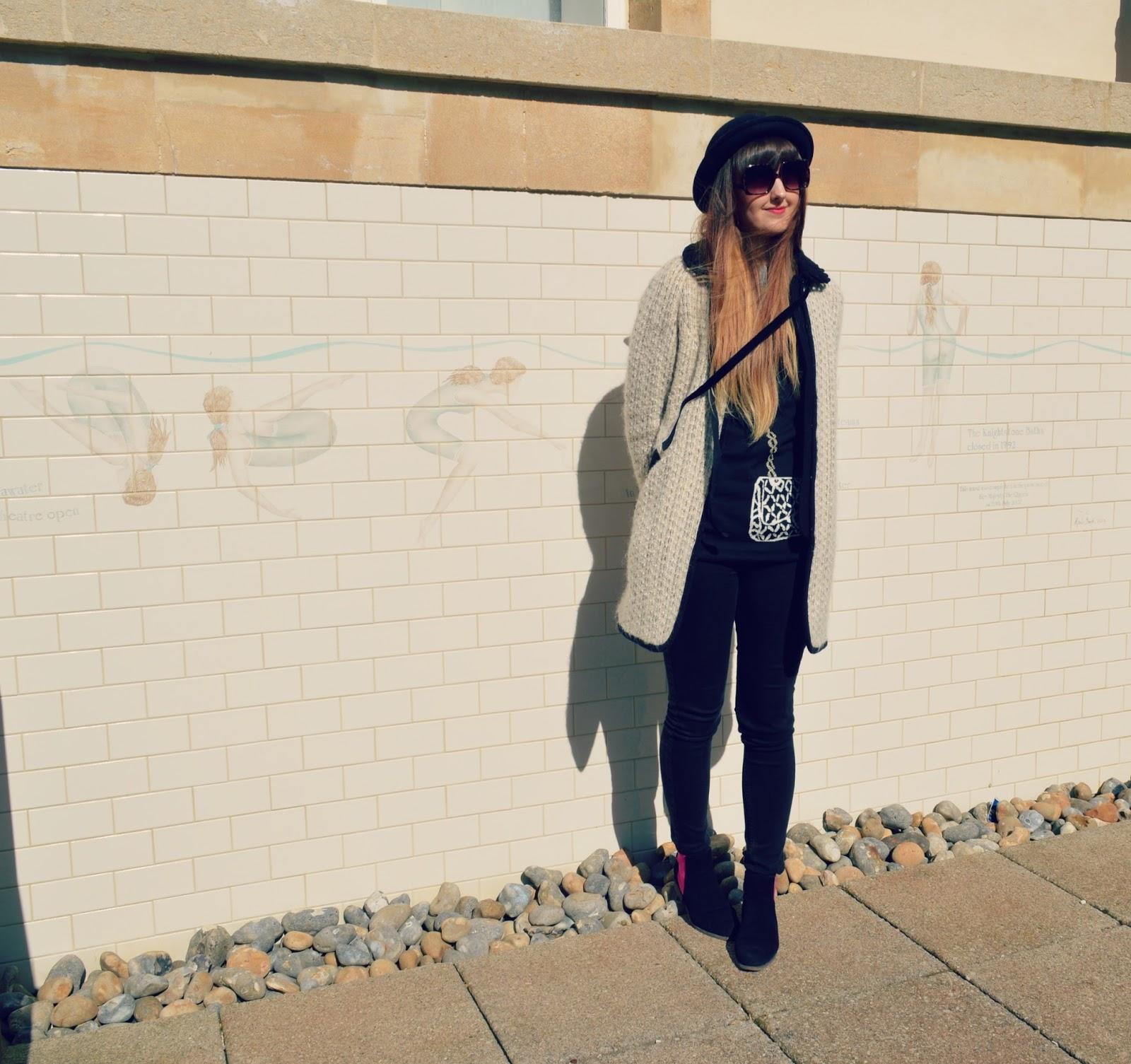 topshop coat asos sunglasses chelsea boots