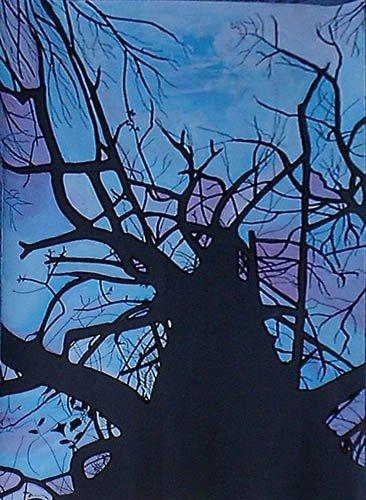 spirito albero secco contro luce pittura orme magiche quadro dipinto disegno pittura spirituale arte zen