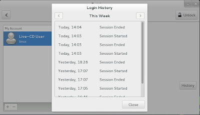 openSUSE 13.1 Milestone 4, GNOME live ISO User Login History