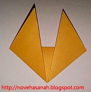 inilah hasil origami bentuk serigala untuk anak tk dan sd kelas rendah