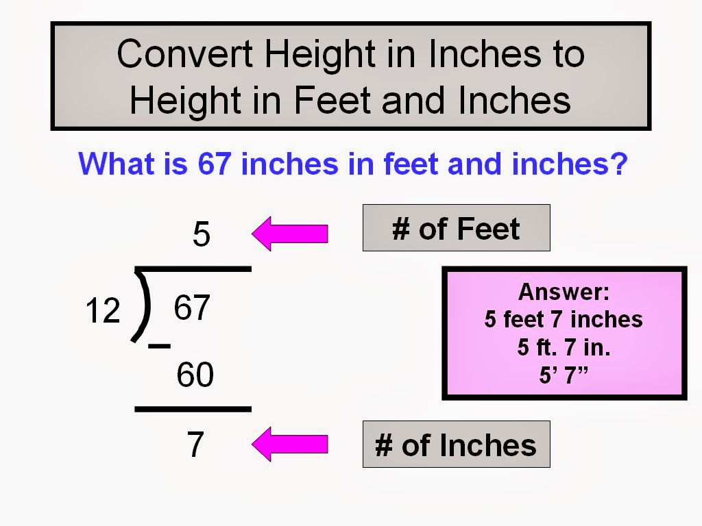 How To Convert Height To Feet And Inches Step By Step Directions