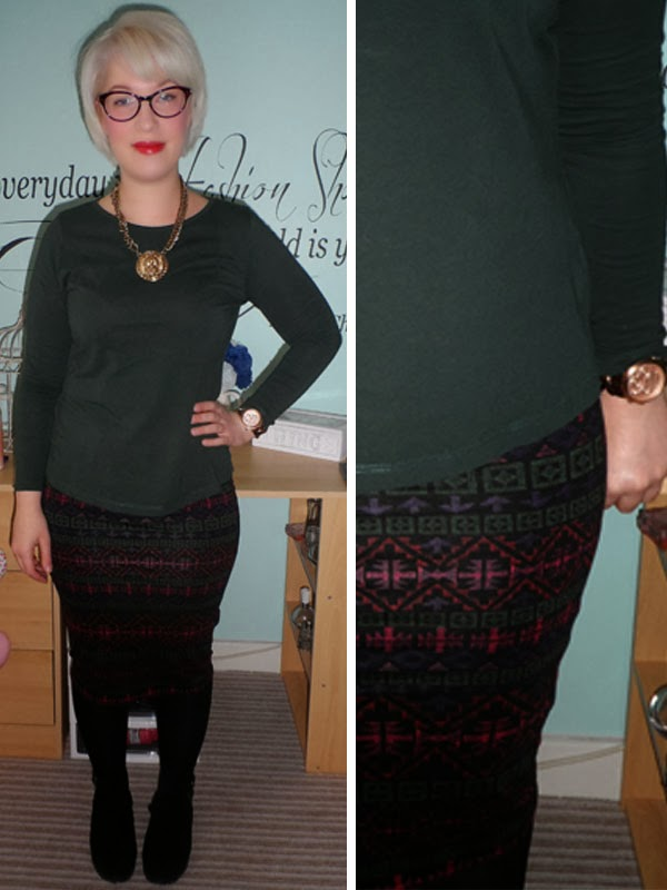 Forest Green Long Sleeved Top and Aztec Midi Skirt