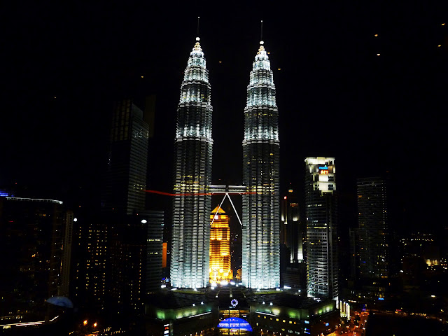 view of petronas towers from sky bar