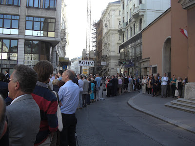Part of the line to get into the Capuchin Church