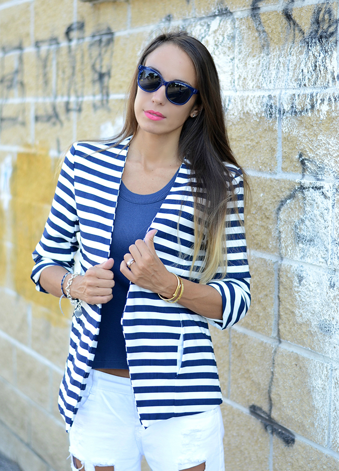 blue white striped jacket