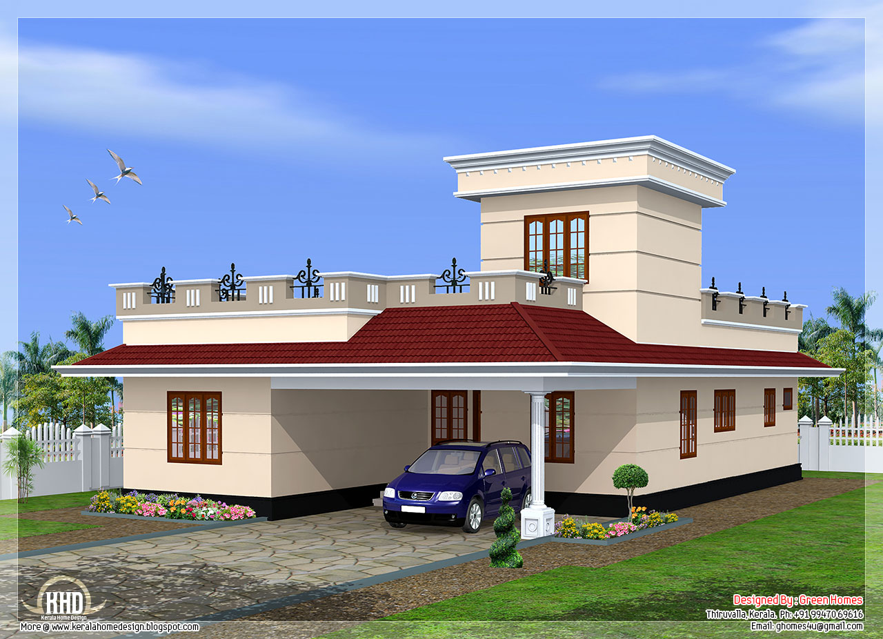 1600 square feet budget home design kerala home design for One floor house images