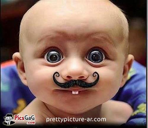 صورة طفل بشنب مضخك