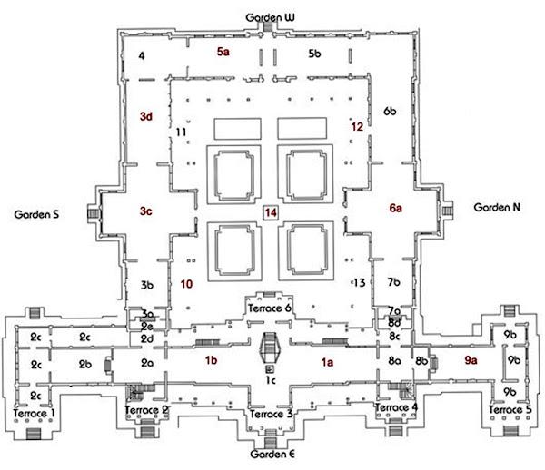 Plano esquematico del Museo Nacional de Camboya en Phnom Penh