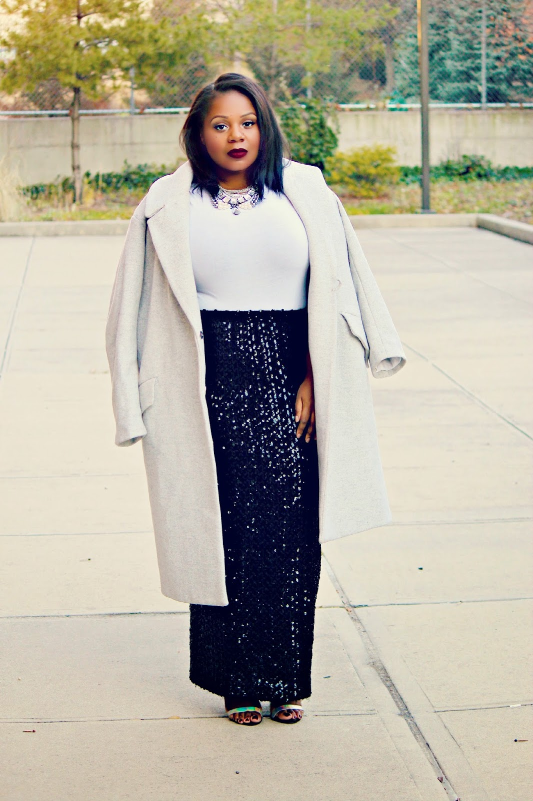 plus size holiday glam look outfit