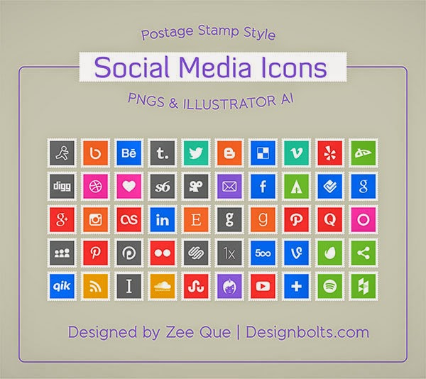 50 Postage Stamps Social Media Icons
