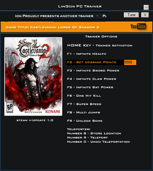 Castlevania Lords Of Shadow 2 v1.0 Fixed 2 Trainer +11 [LinGon]