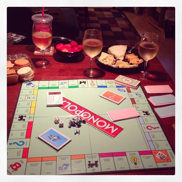 Monopoly, wine, cheese all make for a great night - www.lifeinrandombits.com
