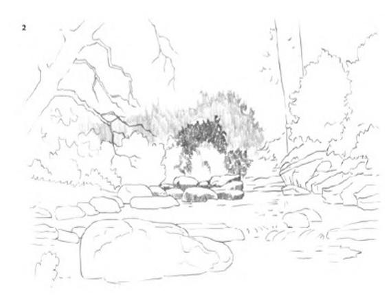 رسم منظر طبيعي بقلم الرصاص