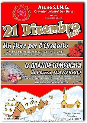 DOMENICA 21 DICEMBRE TORNA LA GRANDE TOMBOLATA DI PIAZZA MANFREDI