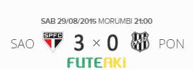 O placar de São Paulo 3x0 Ponte Preta pela 21ª rodada do Brasileirão 2015