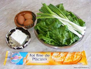 ingrediente placinta cu spanac si branza telemea, retete cu spanac, preparate din spanac, ingrediente placinta greceasca, retete placinta, reteta placinta,
