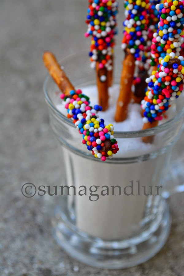 Chocolate Covered Pretzel Sticks with Sprinkles