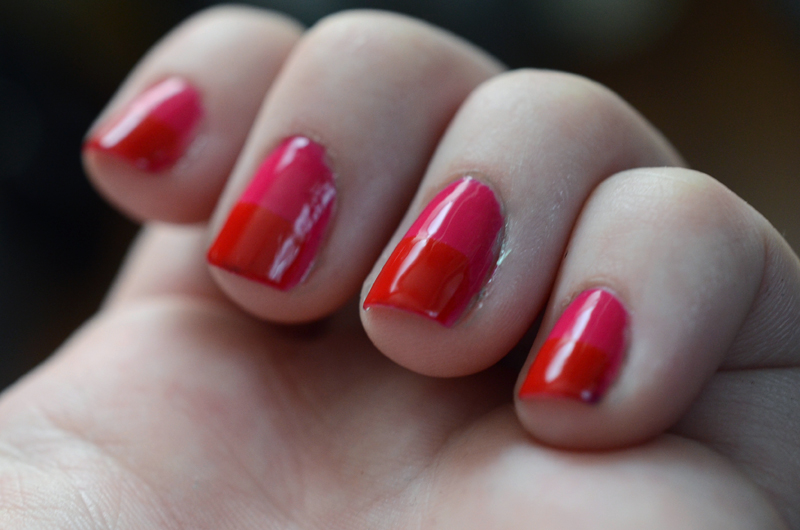 Pink & Red Colorblock Nails