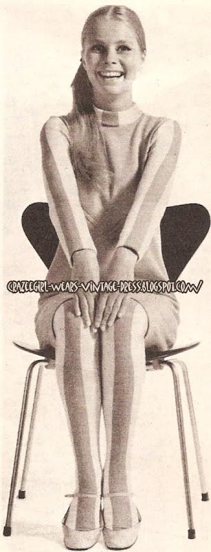 Stripes , stripes , stripes ! Dress and Panty hose - 1966 60s 1960