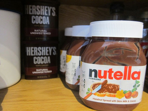 cupboard packed with nutella