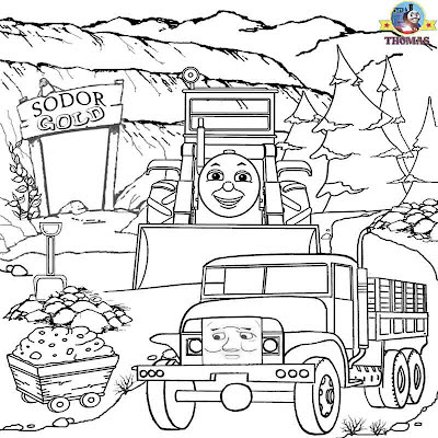 Free online printable worksheets railway images Thomas the train landscape drawings for colouring