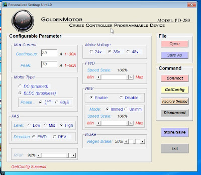 GoldenMotor PD-280 software for tuning the MagicPie 3