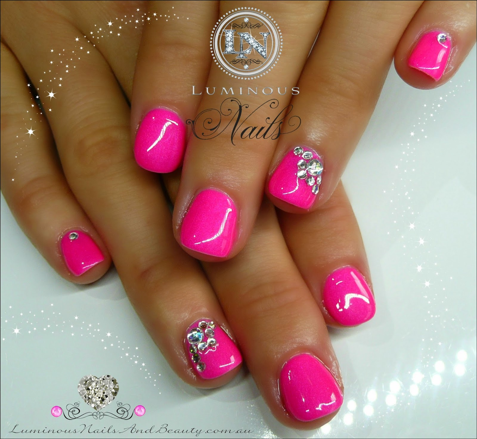 Crystal Gel Nail Video: Cute Hot Pink Gel Over Natural Nails With A Little Bling
