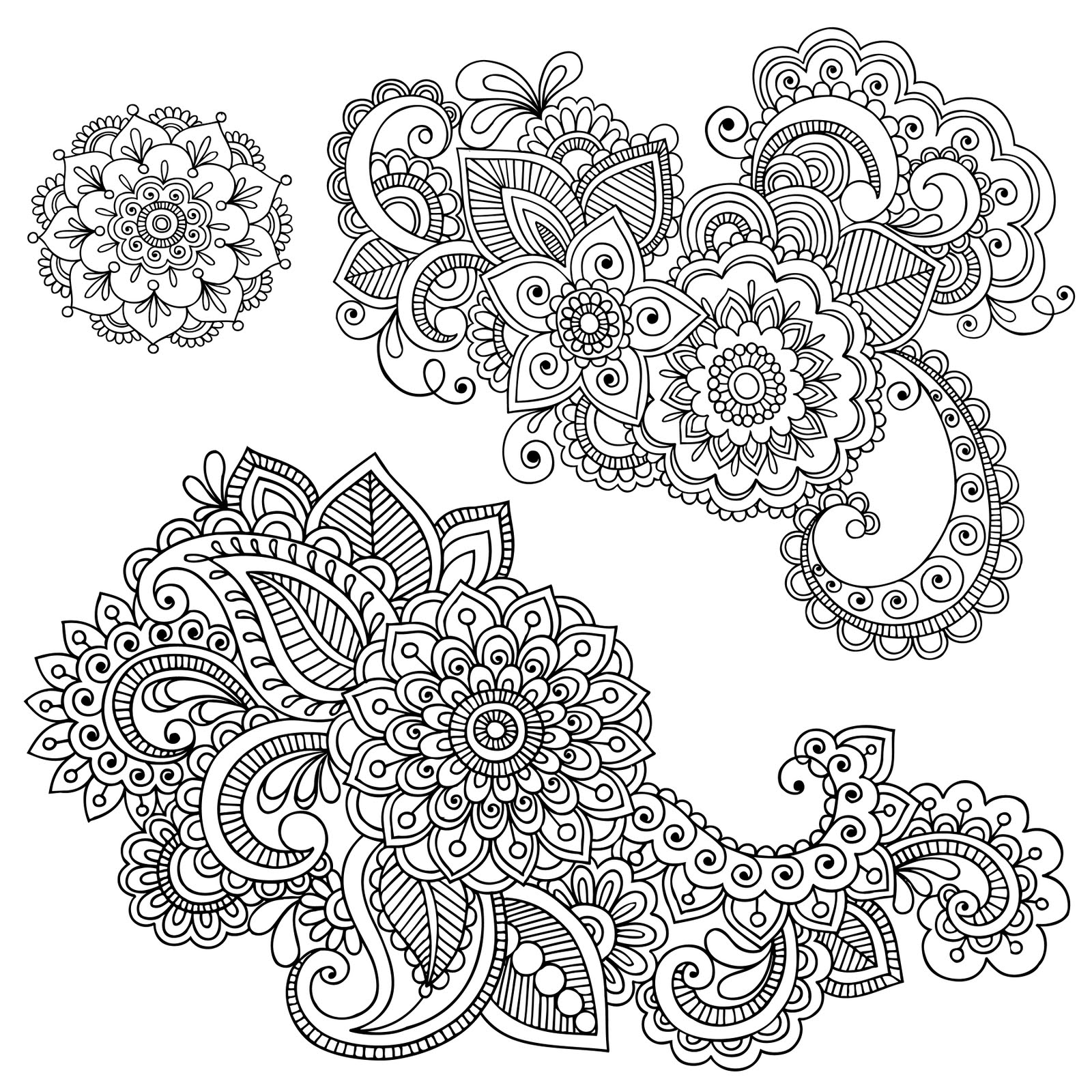 Shery k designs free digi stamps flourish for Henna coloring pages