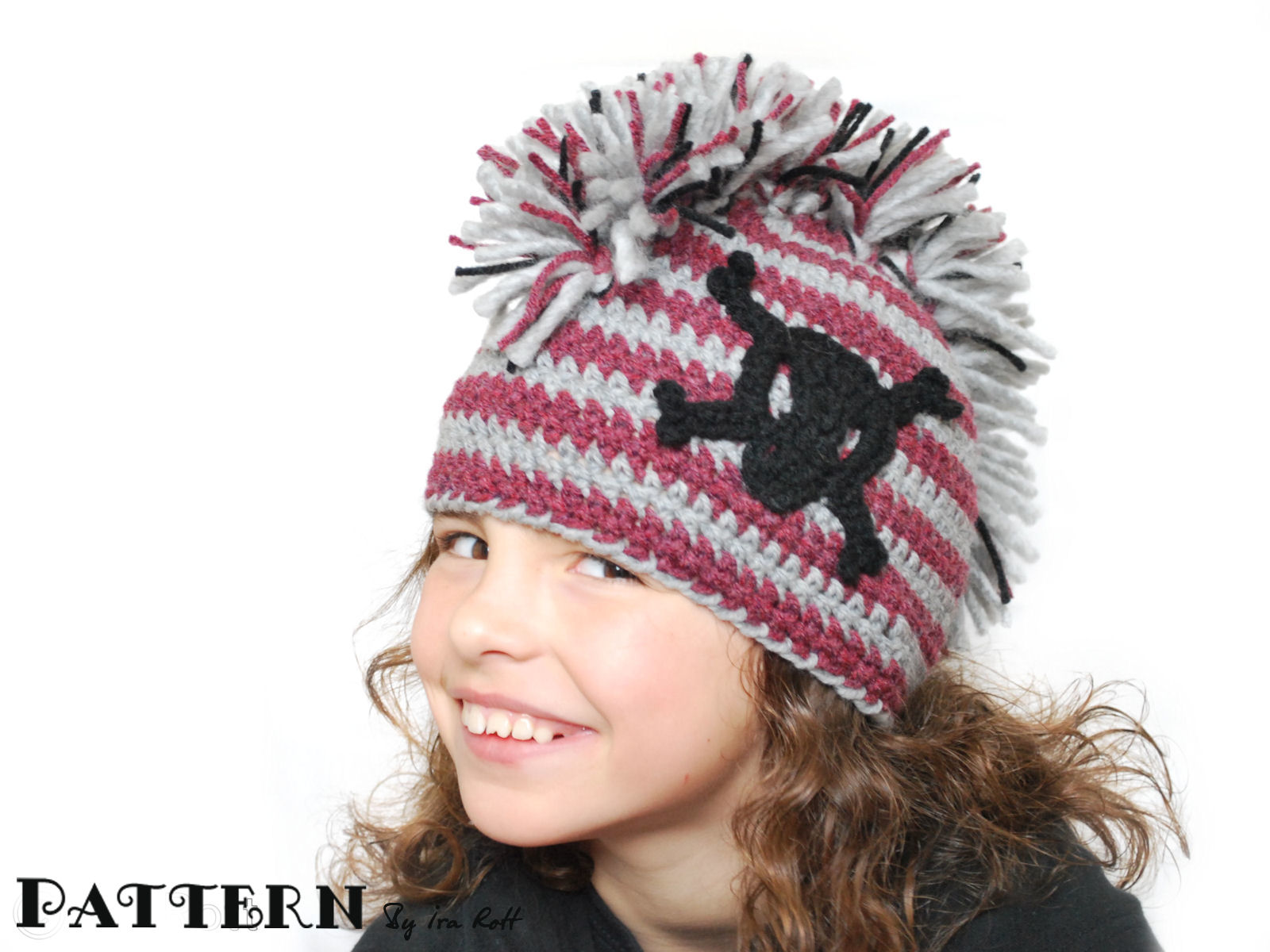 Skull and Crossbones Pirate Beanie Hat with Mohawk - Crochet Pattern 7f246e2ff7f