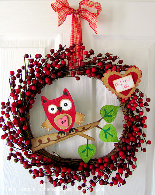 Owl Valentines Wreath