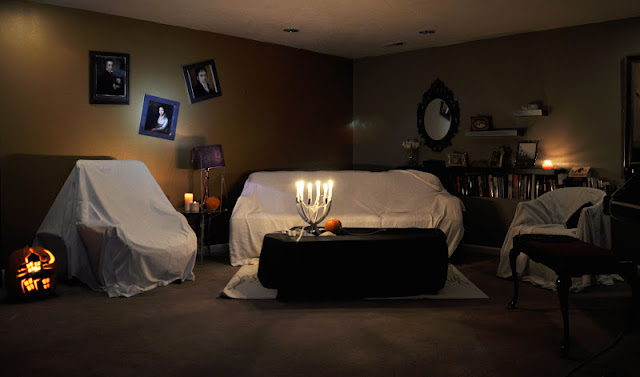 Halloween Party Ideas, white sheets over furniture, coffin table